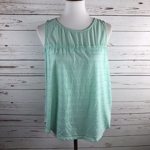Lucy Yoke Knit Sleeveless Tank Mint Green